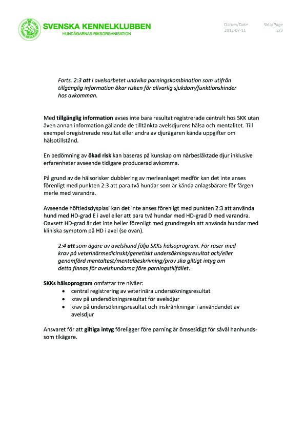 Vägledning vid uttollkning av grundreglernas avelsparagraf